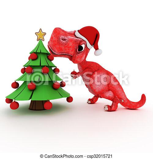 Dinosaur Christmas.Friendly Cartoon Dinosaur With Gift Christmas Tree