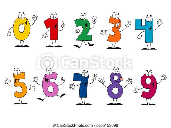 Friendly Cartoon Numbers Set  - csp5153098