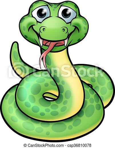 Friendly Cartoon Snake - csp36810078