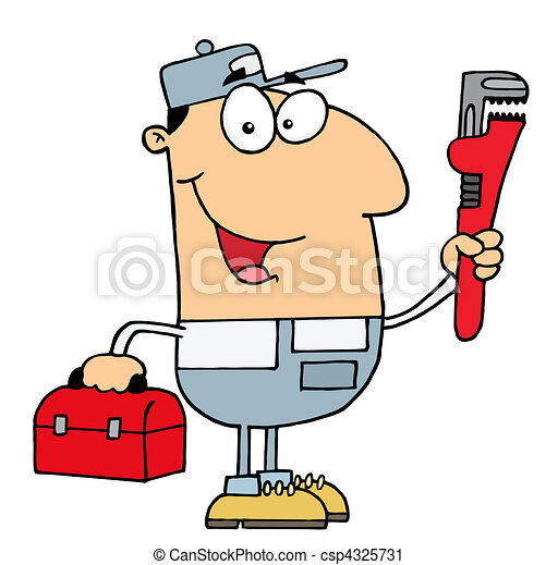 friendly caucasian plumber man carrying a wrench and tool vector rh canstockphoto com clipart friendly reminder friendly clipart