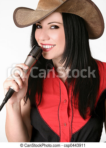 Friendly country girl with a microphone - csp0443911