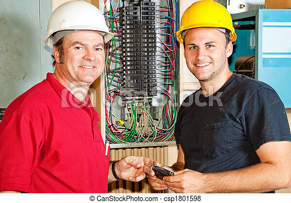 Friendly Electricians at Work - csp1801598