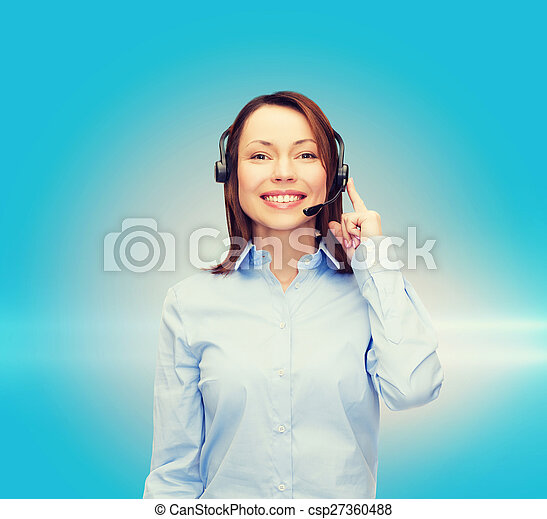 friendly female helpline operator - csp27360488