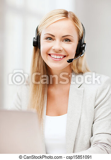 friendly female helpline operator - csp15851091