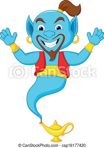 Friendly genie cartoon  - csp16177420