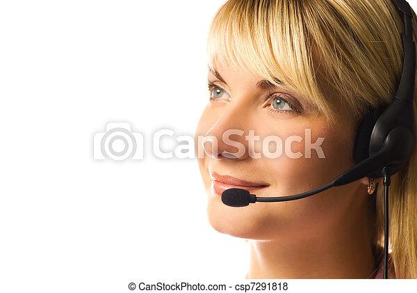 Friendly hotline operator isolated on white background - csp7291818