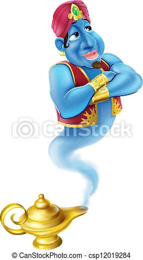 Friendly Jinn or genie and magic oi - csp12019284