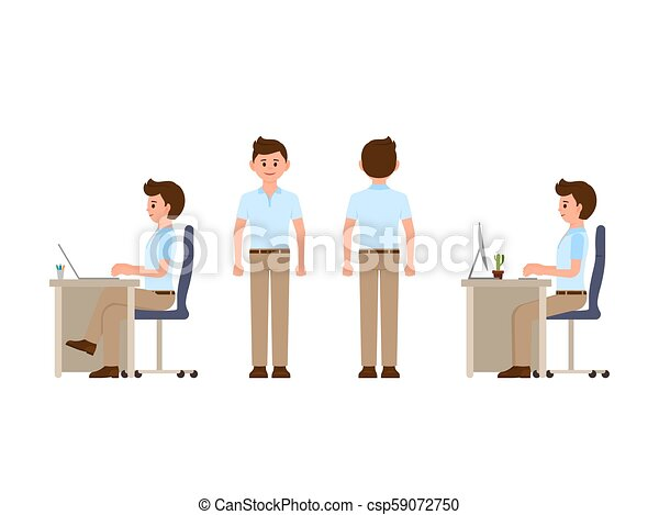 Friendly office worker sitting at the desk, standing - csp59072750