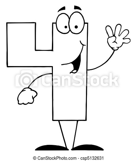 friendly outlined number 4 four guy outlined funny cartoon rh canstockphoto com