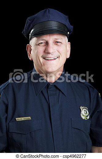 Friendly Policeman on Black - csp4962277