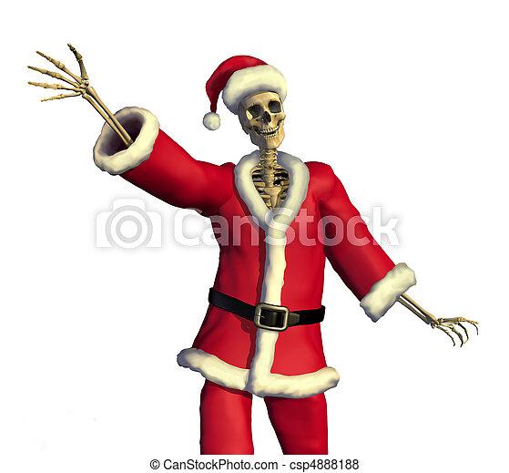 Friendly Skeleton Santa - csp4888188
