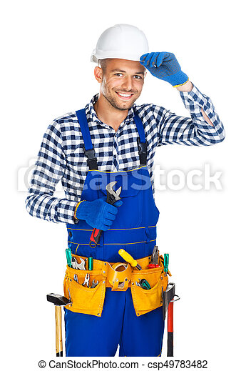 Friendly smiling construction worker with wrench saluting - csp49783482