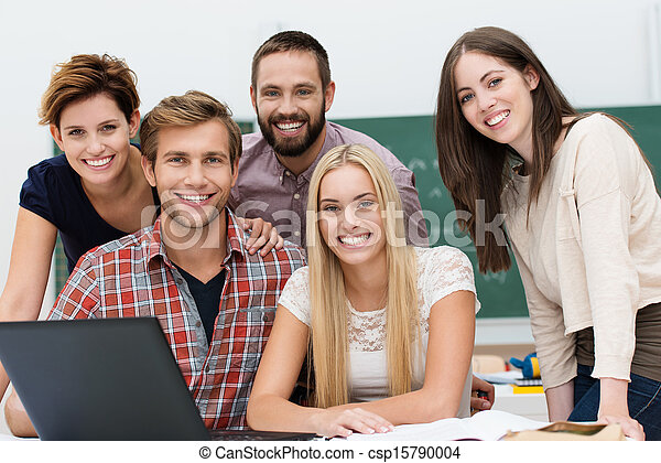 Friendly smiling group of students - csp15790004
