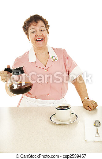 Friendly Waitress With Coffee Pot - csp2539457
