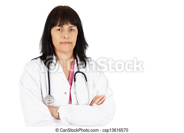Friendly woman doctor - csp13616570
