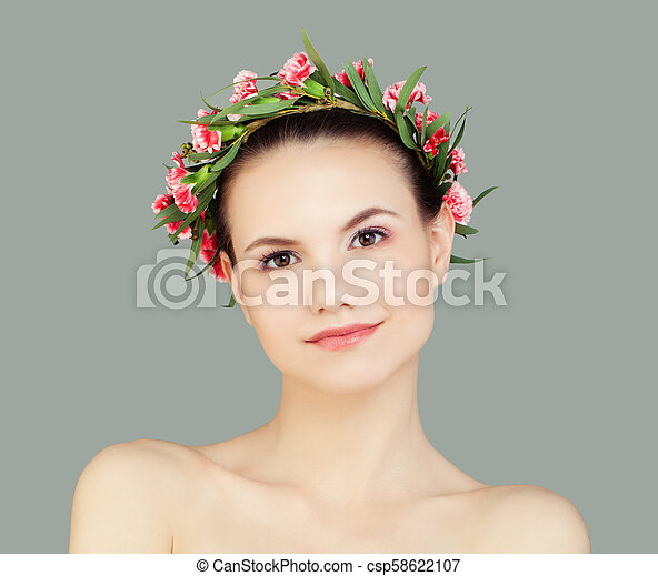 Friendly Young Woman with Healthy Skin - csp58622107