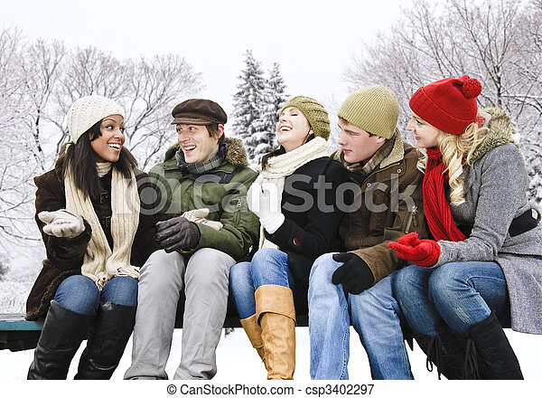 friends, draußen, gruppe, winter - csp3402297