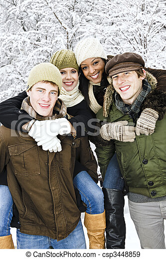 friends, draußen, gruppe, winter - csp3448859