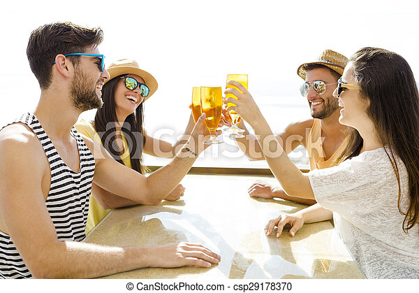 Friends drinking a cold beer - csp29178370