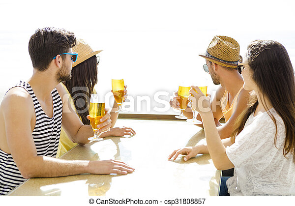 Friends drinking a cold beer - csp31808857