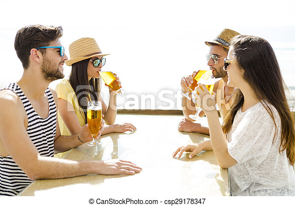Friends drinking a cold beer - csp29178347