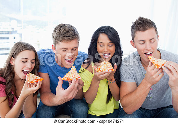 Friends eating pizza together  - csp10474271