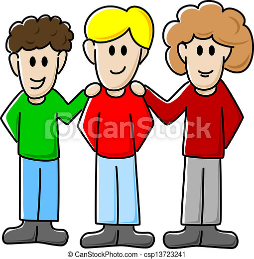 vector illustration of three cartoon friends eps vector search rh canstockphoto com group of friends clipart black and white group of girlfriends clipart