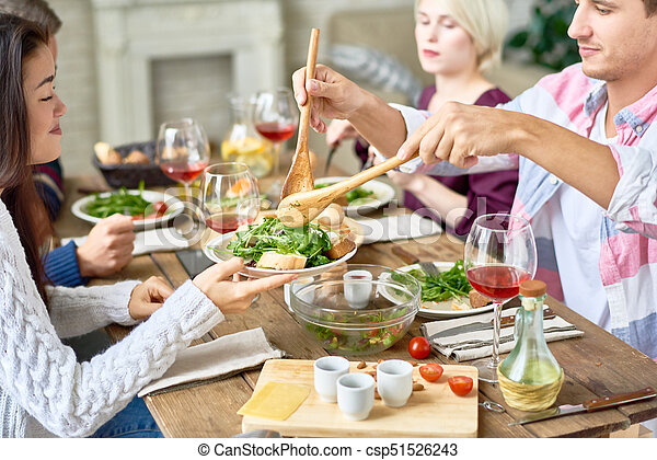 Excellent Friends Gathering At Dinner Table Download Free Architecture Designs Embacsunscenecom