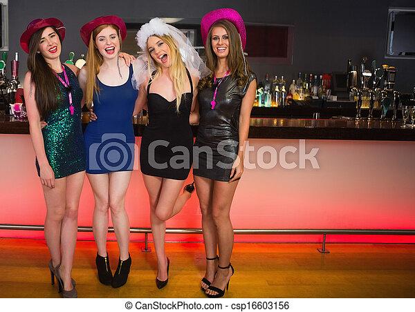 friends, haben, party, lachender, portait, henne - csp16603156