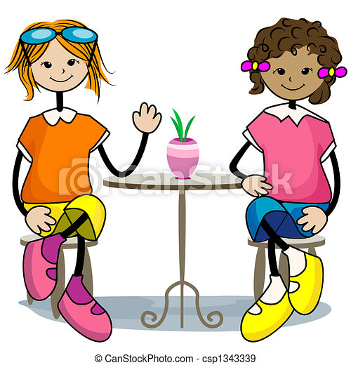 friends hanging out stock illustration search vector clipart rh canstockphoto com two friends clipart images friends forever images clipart