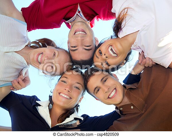friends happy group in circle heads from below - csp4820509