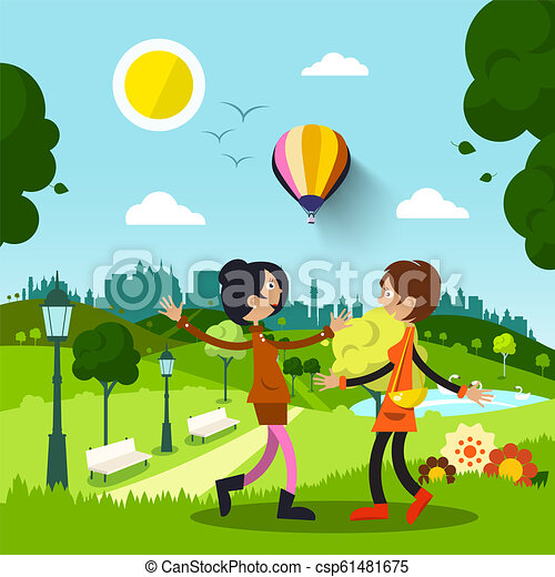 Friends in City Park. Women Meeting During Sunny Day. Vector Flat Design Nature Illustration. - csp61481675