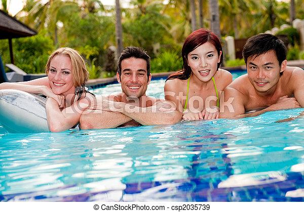 Friends In Pool - csp2035739