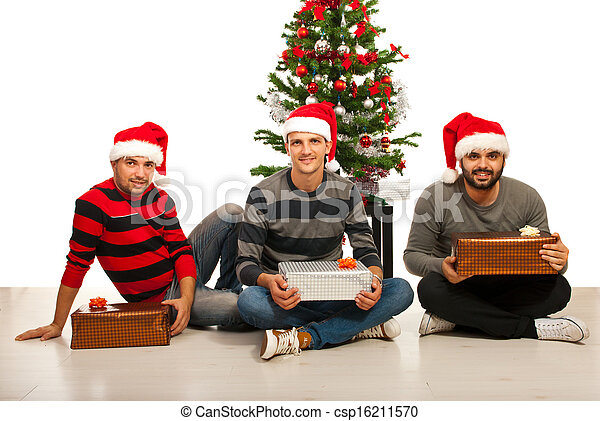 Friends men with Christmas gifts - csp16211570
