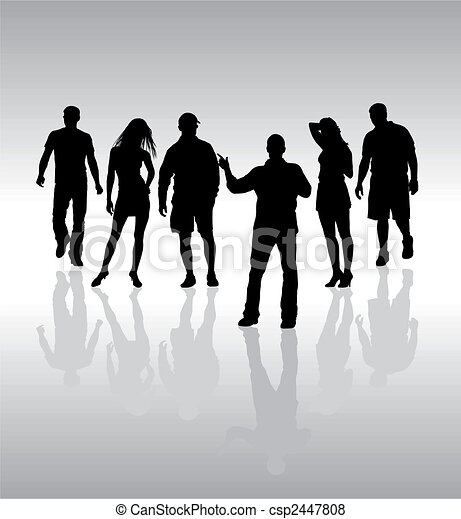 Friends, people silhouette, vector - csp2447808