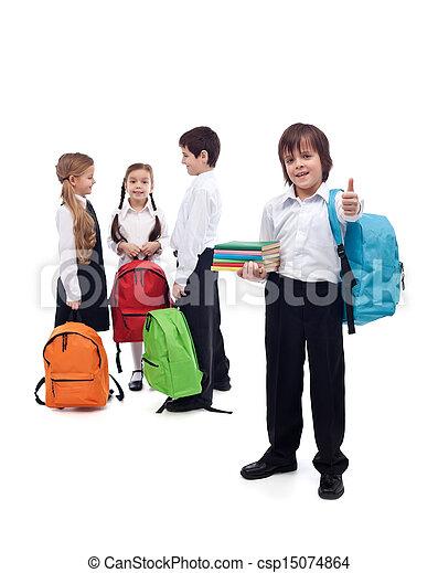 Friends reunite in school - back to school concept - csp15074864