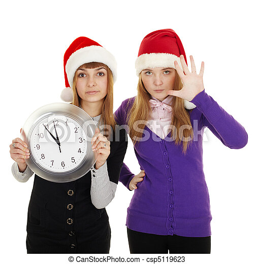 Friends show how little time is left until new year - csp5119623