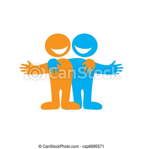 icon happy friends symbol of friendship vector sign vector clip rh canstockphoto com clip art friendship clipart friendship symbols