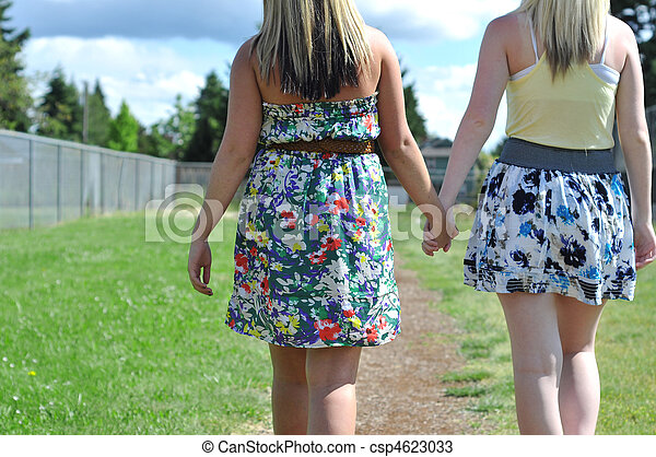 Friends Walking and Holding Hands - csp4623033