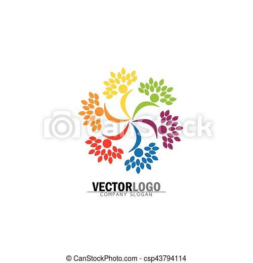 Friendship Bonding Together Organic People Logo Circle Tree Logo