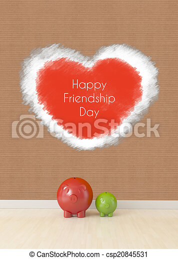 friendship concept, two piggy friends on floor - csp20845531