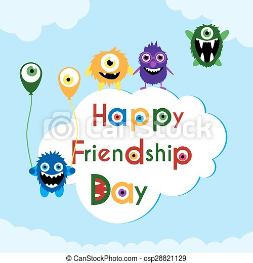 Friendship day greeting card with cute monsters friendship day friendship day greeting card with cute monsters csp28821129 m4hsunfo