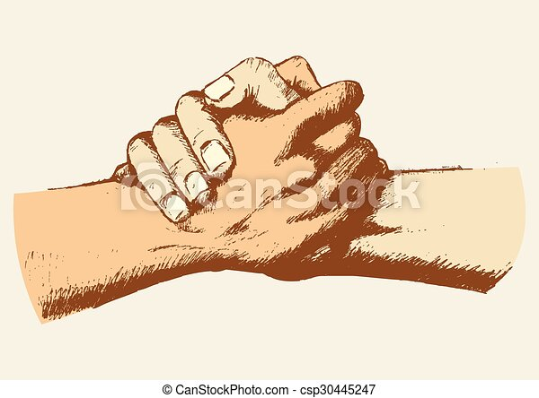 Line Art Hand : Friendship sketch of two clasped hands eps vector search clip