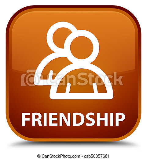 Friendship (group icon) special brown square button - csp50057681