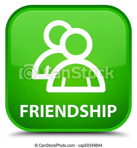 Friendship (group icon) special green square button - csp50349844