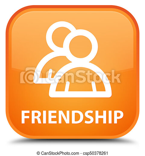 Friendship (group icon) special orange square button - csp50378261
