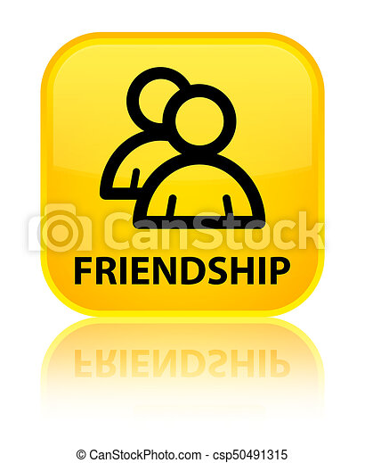 Friendship (group icon) special yellow square button - csp50491315
