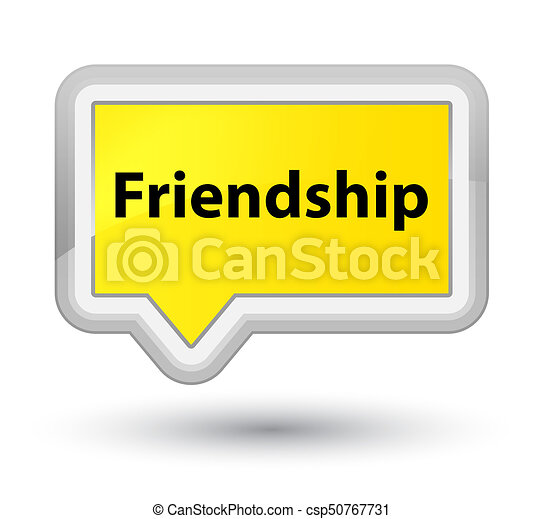Friendship prime yellow banner button - csp50767731