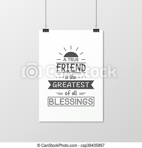 Friendship quote. Typographical Poster. - csp39435897