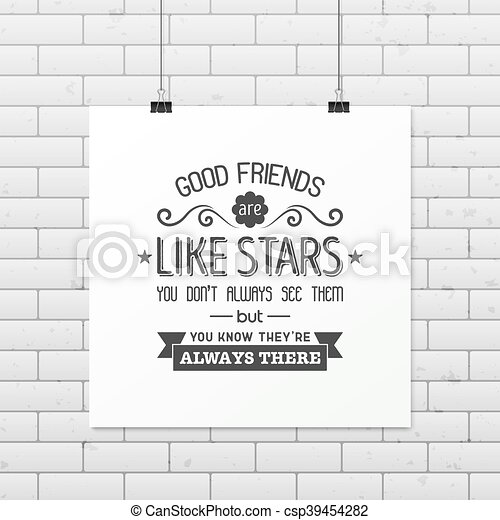 Friendship quote. Typographical Poster. - csp39454282
